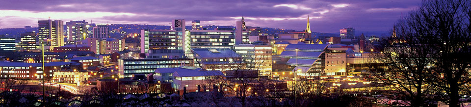 Panoramic image of Sheffield Hallam University at night