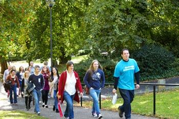 Students walking up a path